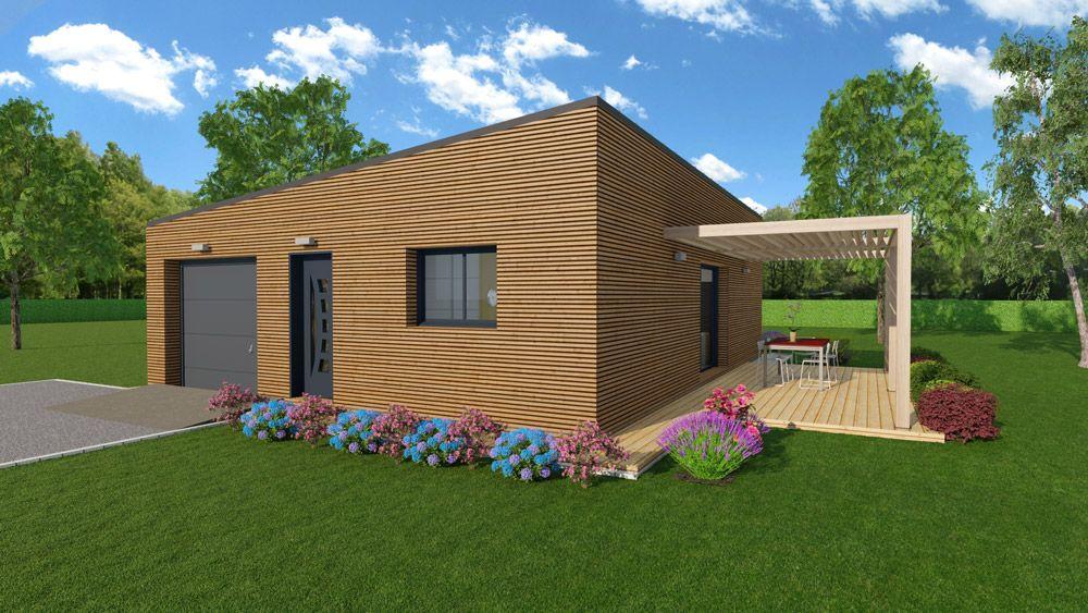 Modèle habitation en bois brut